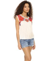 Free People Tribal Disco Tee Snow Combo - Lyst