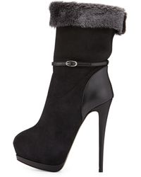 Giuseppe Zanotti Suede Fur-Lined High-Heel Boot - Lyst