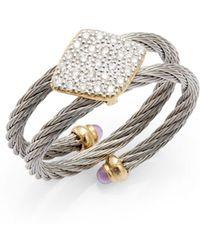 Charriol - Celtic Classique Pavé Diamond Stainless Steel Coil Ring - Lyst