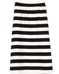 Valentino Wool And Silk Striped Black And Ivory Longuette Skirt black - Lyst