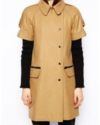 ASOS - Coat with Short Sleeve and Rib Insert - Lyst
