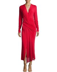 Donna Karan New York Long-Sleeve Twisted-Front Dress - Lyst
