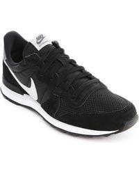 Nike Internationalist Black Suede And Mesh Sneakers - Lyst
