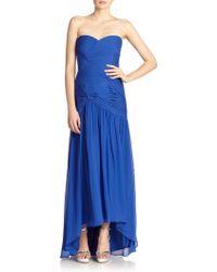 Aidan Mattox Shirred Silk Chiffon Gown - Lyst