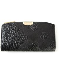 Burberry Embossed Check Wallet - Lyst