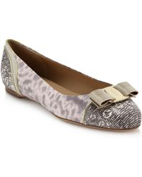 Ferragamo Varina Chainmail-Bow Snake-Embossed Leather Ballet Flats - Lyst