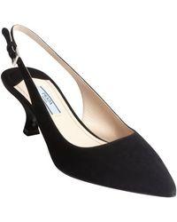 Prada Black Suede Slingback Kitten Heel Pumps - Lyst