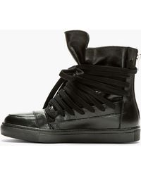 Kris Van Assche - Black Leather Hi-Top Trainers - Lyst