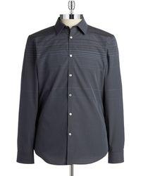 Calvin Klein Gray Striped Sportshirt - Lyst