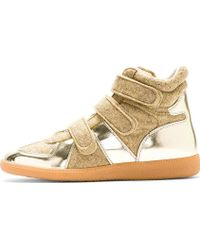 Maison Martin Margiela Gold Leather and Wool Velcroed Sneakers - Lyst