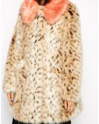 ASOS - Faux Fur Leopard Print Coat With Contrast Collar - Lyst
