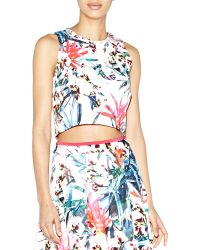 Nicole Miller Artelier Orchid Jungle Crop Top - Lyst