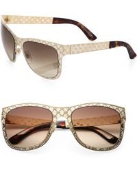 Gucci Textured 55mm Wayfarer Sunglasses - Lyst
