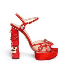 Charlotte Olympia 'Totem' Stud Suede Platform Sandals red - Lyst