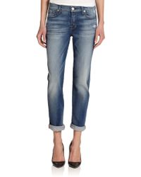 7 For All Mankind Josefina Cuffed & Distressed Skinny Boyfriend Jeans - Lyst