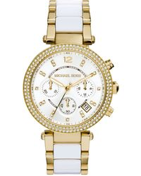 Michael Kors Women'S Chronograph Parker White Acetate And Gold-Tone Stainless Steel Bracelet Watch 39Mm Mk6119 - Lyst