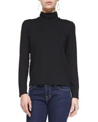 Eileen Fisher Scrunch-neck Long-sleeve Top - Lyst