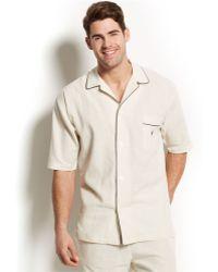 Polo Ralph Lauren Linen-Blend Short-Sleeve Pajama Top - Lyst