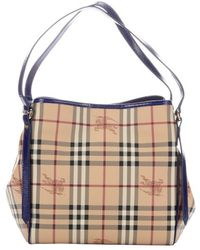 Burberry Brilliant Blue Patent Leather and Nova Check Coated Canvas Canterbury Small Tote - Lyst