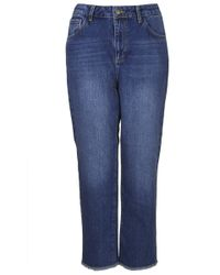 Topshop Womens Fray Straight Leg Jeans by Boutique  Blue - Lyst