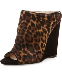 Prada Leopardprint Combo Wedge Slide - Lyst