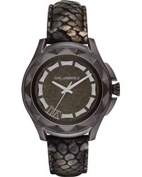 Karl Lagerfeld Unisex Karl 7 Pythonembossed Metallic Sheen Leather Strap Watch 44mm - Lyst