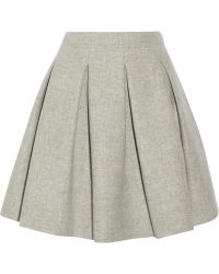 Miu Miu Pleated Wool Mini Skirt - Lyst