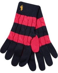 Ralph Lauren Rugby Cable Knit Gloves - Lyst