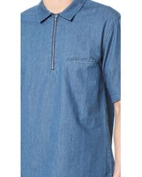 Shades of Grey by Micah Cohen - Short Sleeve Zip Front Shirt - Lyst
