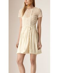 Burberry | Silk And Italian Lace Dress | Lyst