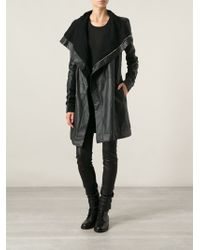 Rick Owens B Leather Coat - Lyst