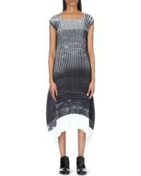 Issey Miyake Three Tone Cap Sleeve Pleated Dress - Lyst