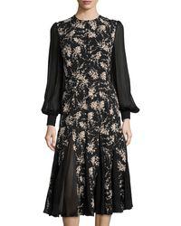 Michael Kors Floral-Print Chiffon-Inset Dress - Lyst