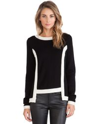 Milly High Low Contrast Pullover - Lyst