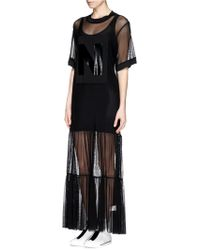 Nicopanda Glossy Logo Tiered Mesh Maxi Dress black - Lyst