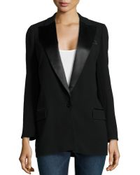 Haute Hippie Long Satin Trim Blazer  - Lyst