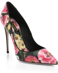 Dolce & Gabbana Floral-Print Pumps - Lyst