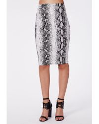 Missguided Ferah Snake Print Midi Skirt Grey - Lyst