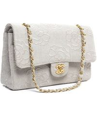 Chanel Pre-owned Ivory Canvas Camellia Small Double Flap Bag - Lyst