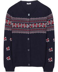 Miu Miu Blue Cotton Cardigan - Lyst