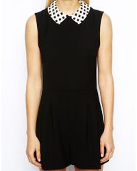 Oasis Grid Print Collar Playsuit - Lyst