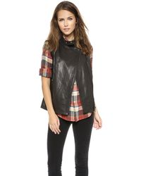 J Brand Madisyn Leather Vest  Black - Lyst