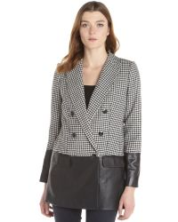 Rachel Zoe Black And White Houndstooth Wool And Leather 'Huxley' Jacket - Lyst
