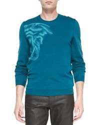 Versace Crewneck Medusa Graphic Sweater - Lyst
