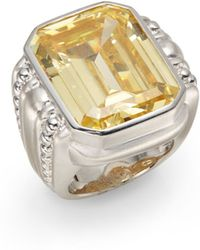 Judith Ripka Emerald-Cut Crystal & Sterling Silver Ring - Lyst