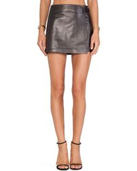 T By Alexander Wang Leather Wrap Skirt - Lyst