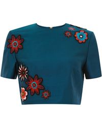 House of Holland Embellished Cropped Top Navy - Lyst
