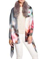 Badgley Mischka - Blurred Floral Silk Wrap With Fox Fur Stole - Lyst