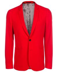Paul Smith | Men's Slim-fit Red Wool-hopsack Blazer | Lyst