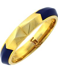 Vince Camuto Goldtone Navy Angular Bangle Bracelet - Lyst